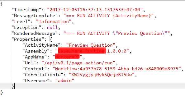 Log entry example